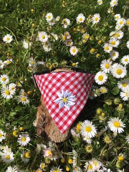 """Dreieckstuch Hundehalsband Einzelstück """"rot gross-kariert + Edelweißblüte"""""""
