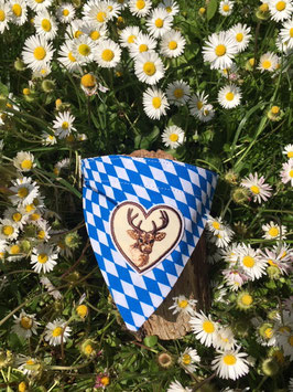 """Dreieckstuch Hundehalsband """"Raute blau-weiß + Herz mit Hirsch"""""""