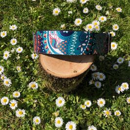 """Hundehalsband """"Blütenmuster türkis"""" 4cm"""