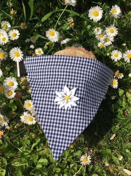 """Dreieckstuch Hundehalsband """"blau klein-kariert + Edelweißblüte"""""""