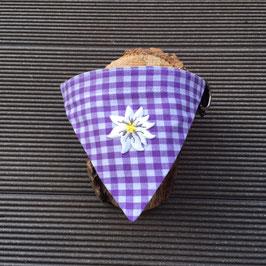 "Dreieckstuch Hundehalsband ""lila karo + Edelweißblüte"""