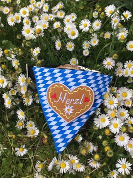 "Dreieckstuch Hundehalsband ""Raute blau-weiß + grosses Herzl gelb"""
