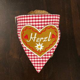 """Dreieckstuch Hundehalsband """"rot klein-kariert + grosses Herzl rot"""""""