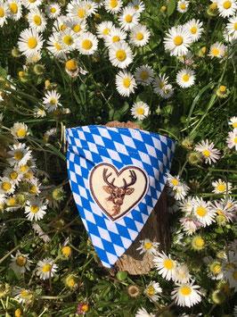 """Dreieckstuch Hundehalsband """"Raute blau-weiß + Hirsch im Herz """""""