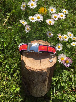 "Kleines Hundehalsband ""Sterne rosa-rot"""
