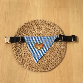 """Dreieckstuch Hundehalsband """"Raute blau-weiß + Herzl blau"""", Bandbreite 3cm für grosse Hunde"""
