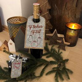 Bestickte Anhänger für Flaschen  & Weihnachtspäckchen
