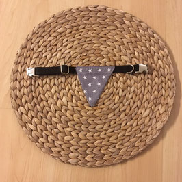 "Einzelstück Dreieckstuch Hundehalsband ""Sterne grau mini"""