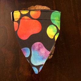 """Dreieckstuch Hundehalsband """"Pfoten gross Neonfarben"""""""