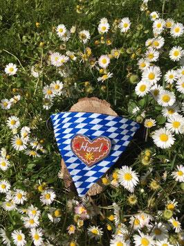 """Dreieckstuch Hundehalsband """"Raute blau-weiß + kleines Herzl blau """""""