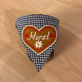 """Dreieckstuch Hundehalsband """"blau klein-kariert + grosses Herzl rot"""""""
