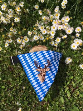 "Dreieckstuch Hundehalsband ""Raute blau-weiß + Hirsch"""