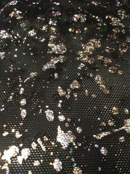 Netzstoff Dripping Schwarz-Silber  mit Glitzer
