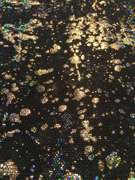 Netzstoff Dripping Schwarz-Gold  mit Glitzer