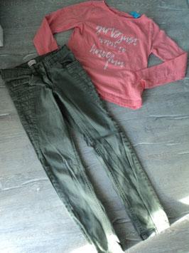 N-17  Set LA Shirt in korall mit weißer Aufschrift und passender Jeans in khaki  Gr. 140