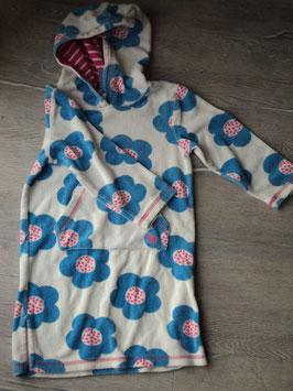 F-240 Strandkleid Badekleid Bademantel Frottee weiß mit blauen/pinken Blumen-mit Kapuze von MINI BODEN  Gr. 104/110