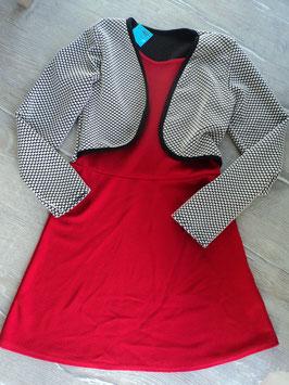 N-3 Schickes Kleid in rot mit angenähter Weste ,weiß gepunktet Gr. 140