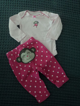 F-139 Set LA Body rosa mit passender Hose pink und weißen Punkten mit Affe am Po von CARTERS Gr.68