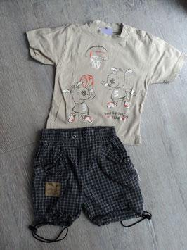 M-162 Zusammengestelltes Set Shirt in braun mit Bären und karrierte Shorts unten zum zusammenbinden Gr. 80