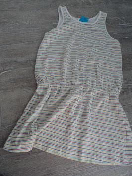 N-28 Kleid bunte gestreift , hüfte mit Gummizug Gr. 152