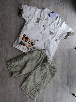 M-169 Zusammengestelltes Set Hemd weiß -abgesetzt khaki- Shorts in khaki Blumen-enger stellbar Gr. 80