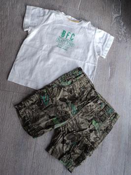 M-152 Zusammengestelltes Set Shirt weiß mit Aufschrift BFC und Shorts in khaki mit Bätter-enger stellbar  Gr. 80