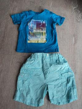 M-151 Zusammengestelltes Set Shirt türkis Sport Area und Shorts in türkis -enger stellbar Gr. 74/80