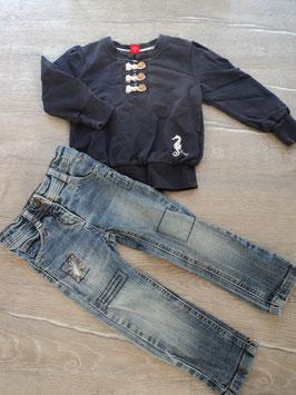SS-148  ✿Set Pulli dunkelblau -vorne Knopfleiste -Seepferd,Jeans mit abnähungen - enger stellbar- von ESPRIT✿ Gr. 92