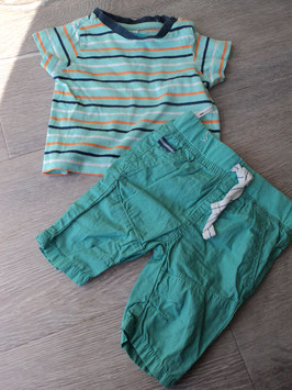 V-78 Set Sommer Shirt gestreift mint/dunkelblau/weiß/orange -passende Shorts in türkis von BABYCLUB Gr. 68