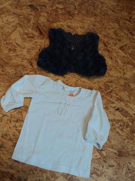 SR-165 Zusammengestelltes Set LA Shirt weiß Uni mit Rüschen von H&M  und Fellweste in dunkellila mit Schleife Gr. 68