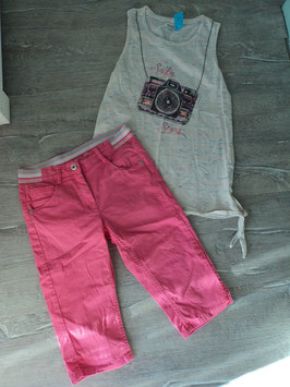 N-34 Set zusammengestellt Shirt bunt meliert mit Kamera und Glitzer-an den seiten zu binden,Shorts in pink  Gr. 146/152