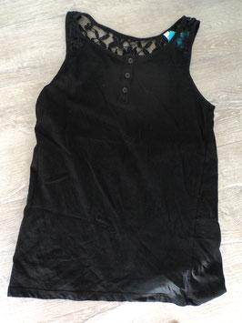 N-33 KA Shirt in schwarz vorne Knopfleiste und hinten am Nacken Spitze von C&A Gr. 158/164