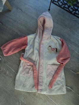 SS-136 ✿Bademantel rosa weiß mit Esel -Taschen und 1 Knopf von STERNTALER✿ Gr. 86/92