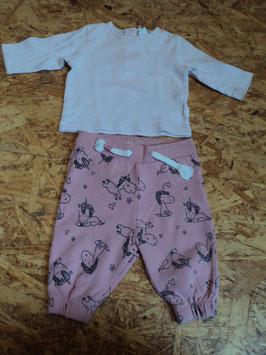 SR-168 Zusammengestelltes Set LA Shirt rosa Uni mit Pumphose/jogger in rosa mit Einhörner H&M Gr. 62