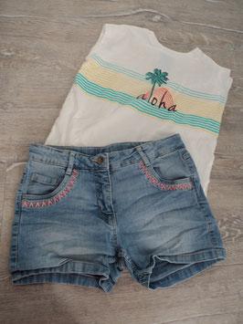 N-32 Set Shirt mit Palme Aloha und passende Jeans an den Taschen Nähte in rosa Gr. 152