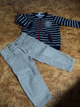 L-21 Zusammengestelltes Set- Sweatjacke blau/weiß gestreift von H&M-Jeans beige -engerstallbar Gr. 80