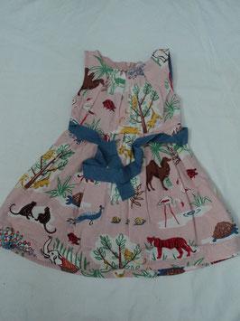F-204 Sommerkleid rosa mit Zootiere und Bauchschleife zum binden -doppellagig von BABY BODEN  Gr. 92/98