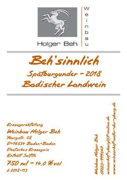 Beh'sinnlich - Spätburgunder 2018 Badischer Landwein