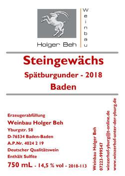 Steingewächs - Spätburgunder Rotwein 2018 - Qualitätswein - Baden