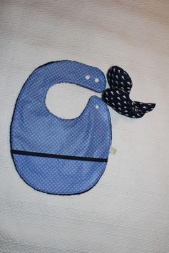 Bavoir coton enduit avec récupérateur, taille L  garanti SANS PHTALATES (obligatoire chez enfant - 36 mois)