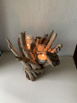 Bougeoir en bois flotté et 2 bougies pour Noël