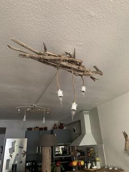 Lustre en bois flotté et ses 3 ampoules