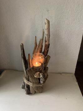 Bougeoir en bois flotté et bougie pour la Fête des Mères