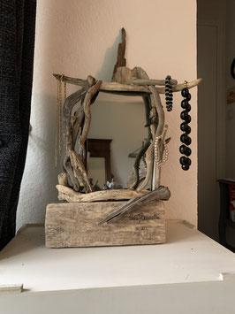 Miroir et porte bijoux en bois flotté