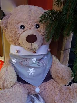 Hundehalstuch für den Winter grau/weiß mit Schneeflocken