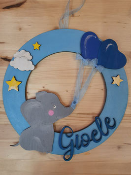 Fiocco nascita elefante legno