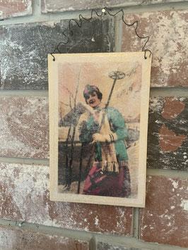 Holzpostkarte Skifahrt