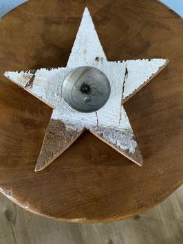 Kerzenhalter Holzstern weiß