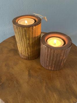 2er Set Rostige Kerzenhalter