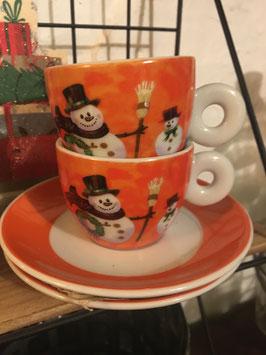 4 Espresso Tassen Schneemann
